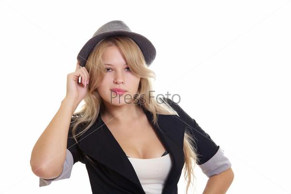Фотография на тему Молодая блондинка в шляпе и пиджаке