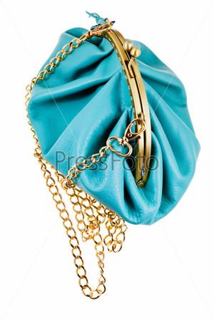 Фотография на тему Синий кожаный клатч в стиле ретро