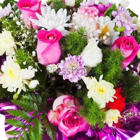 Букет из хризантем и чайных роз