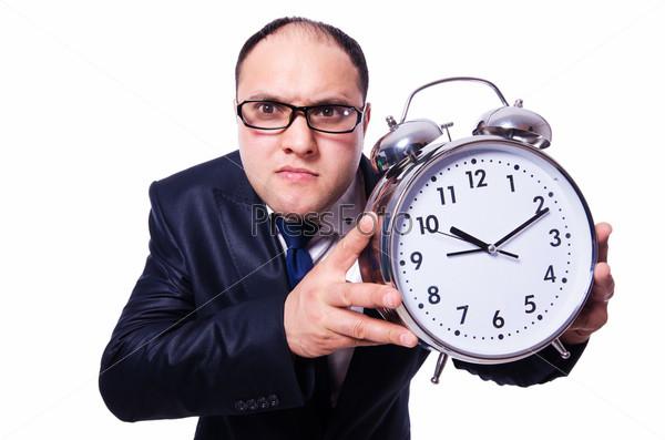 Бизнесмен с часами, изолированный на белом