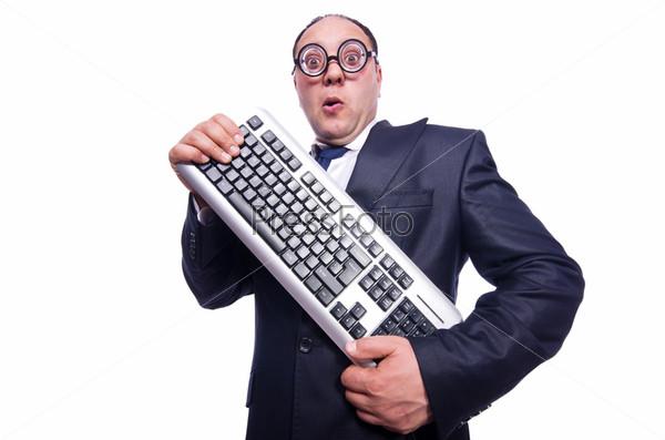 Ботаник бизнесмен с клавиатурой от компьютера на белом