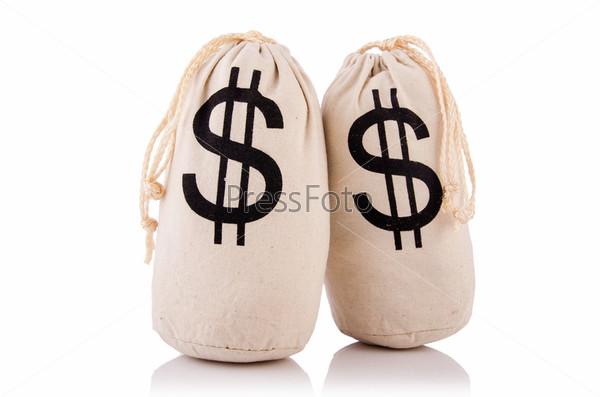 Фотография на тему Мешки с деньгами на белом
