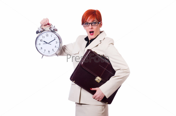Бизнес-леди с часами на белом