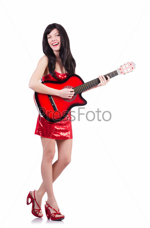 Фотография на тему Молодая певица с гитарой на белом