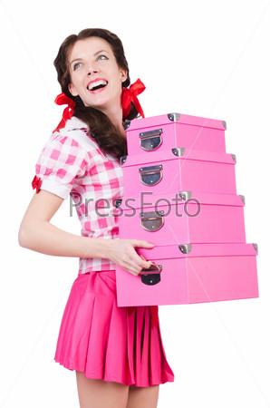 Фотография на тему Молодая женщина с коробками для хранения на белом