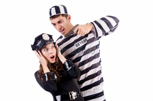 Фотография на тему Полицейский и заключенныйо на белом фоне