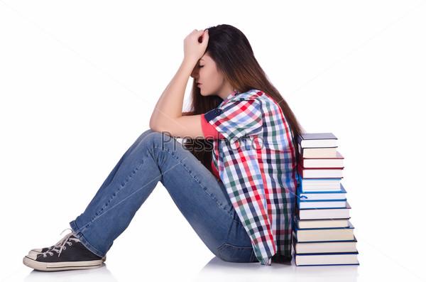 Молодая студентка, изолированная на белом