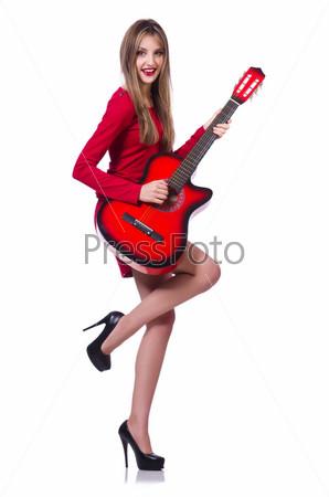 Фотография на тему Гитаристка, изолированная на белом