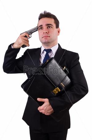 Фотография на тему Бизнесмен с пистолетом, изолированный на белом фоне