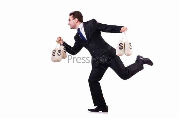 Человек с мешками денег на белом фоне