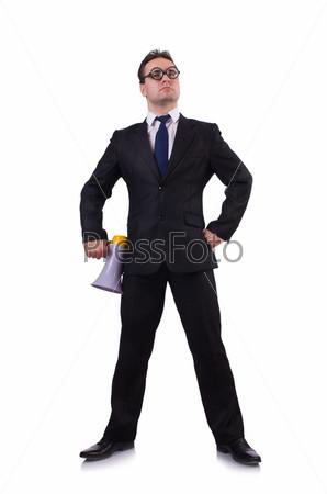 Молодой предприниматель с громкоговорителем на белом фоне