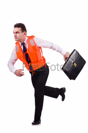 Фотография на тему Бизнесмен с спасательном жилете на белом фоне