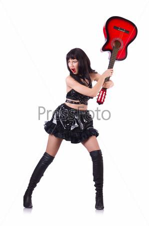 Фотография на тему Молодая певица в кожаном костюме с гитарой