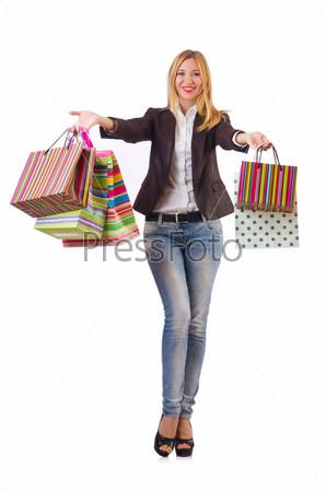 Молодая женщина с покупками