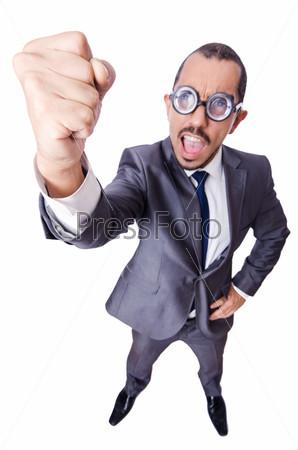 Фотография на тему Смешной бизнесмен-ботаник, изолированный на белом