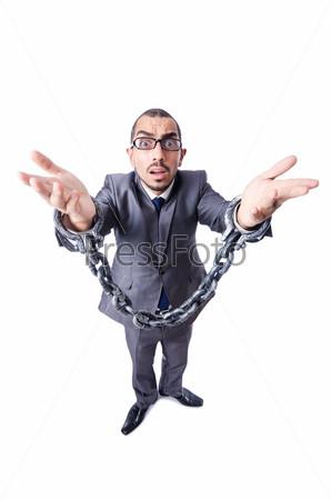Фотография на тему Бизнесмен с наручниками на белом фоне