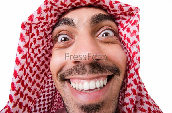 Фотография на тему Забавный арабский мужчина, изолированный на белом