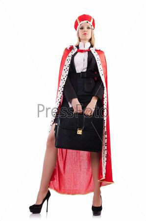 Фотография на тему Бизнес-леди в королевском костюме, изолированная на белом