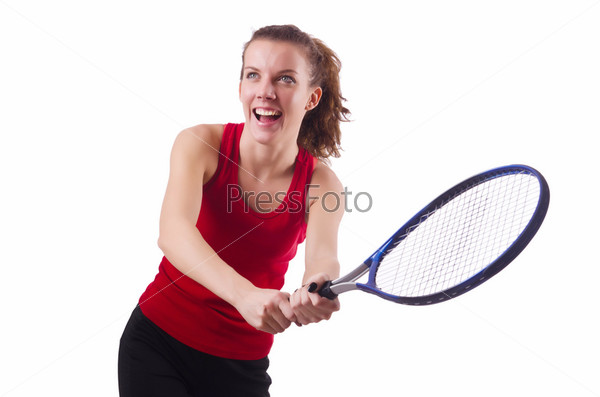 Фотография на тему Женщина играет в теннис на белом фоне