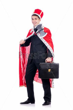 Бизнесмен изображает короля, изолированный на белом