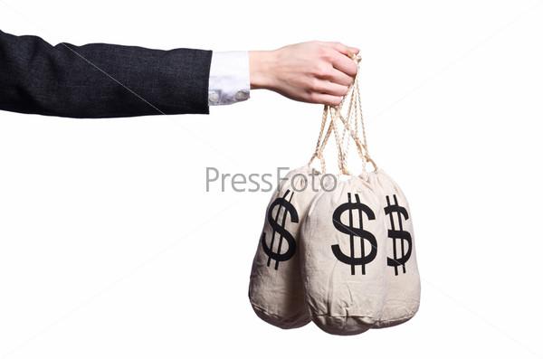 Фотография на тему Женщина с мешками денег на белом фоне