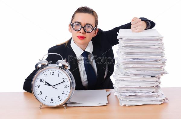 Фотография на тему Бизнес-леди с гигантским будильником