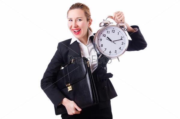 Бизнес-леди с гигантским будильником