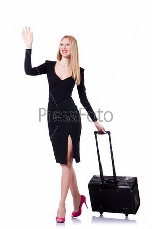 Фотография на тему Бизнес-леди с чемодан на белом