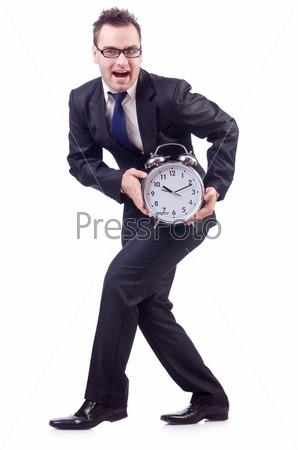 Фотография на тему Бизнесмен с часами, изолированный на белом