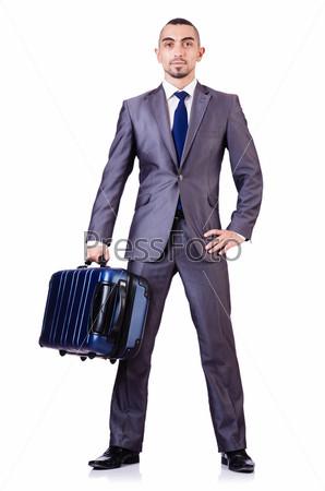 Бизнесмен с багажом на белом