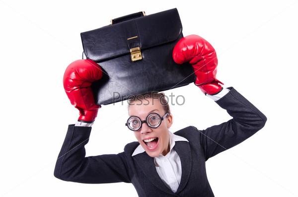 Смешной боксер, изолированный на белом