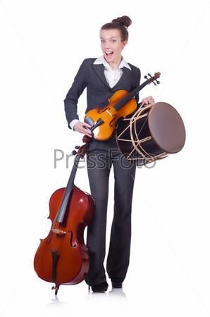 Фотография на тему Бизнес-леди с виолончелью, изолированная на белом