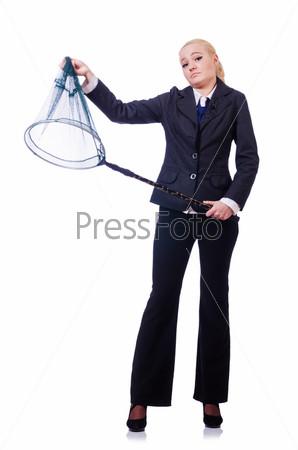 Фотография на тему Бизнес-леди с сачком на белом