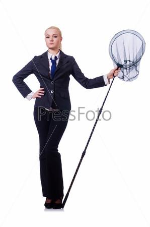 Бизнес-леди с сачком на белом