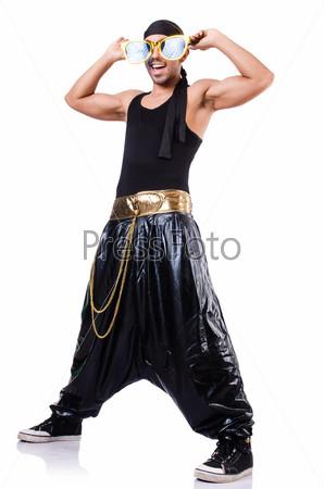 Фотография на тему Танцор хип-хопа, изолированный на белом фоне