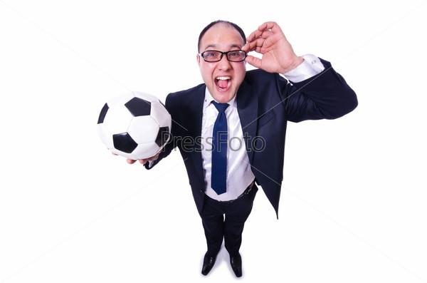 Фотография на тему Бизнесмен с футбольным мячом на белом фоне