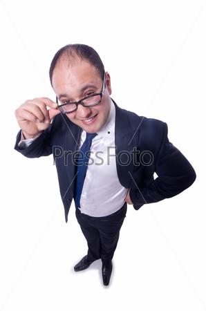 Смешной бизнесмен, изолированный на белом