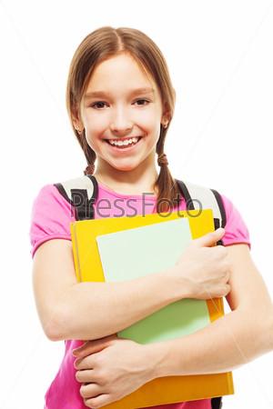 Фотография на тему Счастливая школьница с книгами