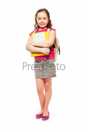Счастливая девочка с кучей книг