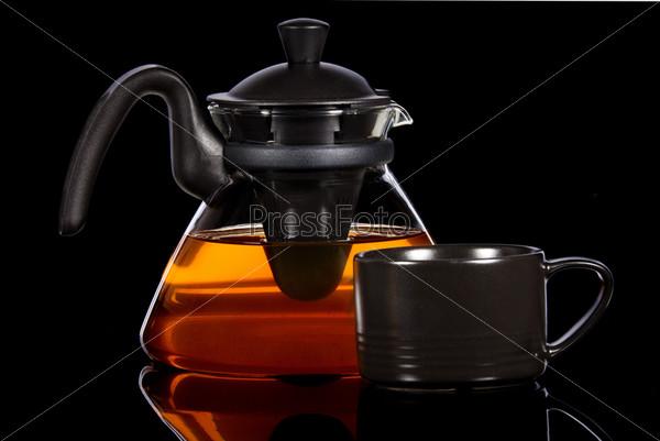 Чай в прозрачном чайнике
