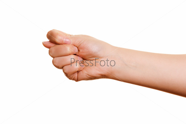 Фотография на тему Жест рукой на белом фоне