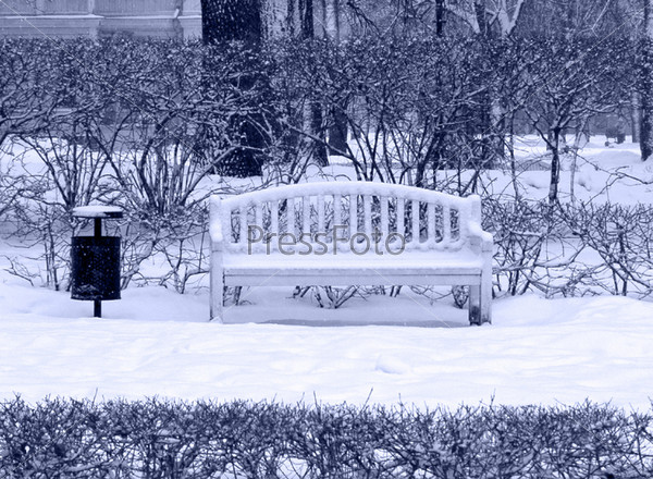Фотография на тему Скамейка в заснеженном парке