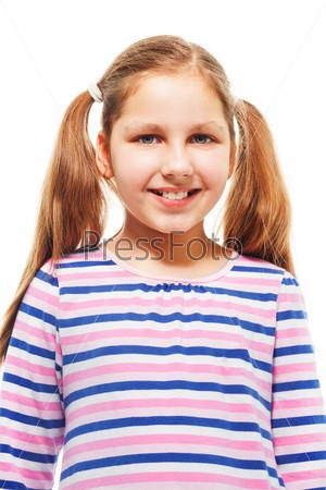 Счастливая девочка с хвостиками