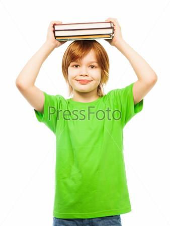 Фотография на тему Мальчик с стопкой книг
