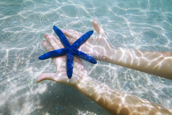 Голубая звезда на ладонях