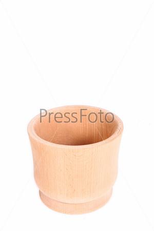 Деревянная ступка для специй. Коллаж, изолированный