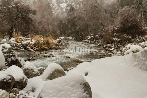 Живописный зимний пейзаж с замерзшей рекой и деревьями, Алматы, Казахстан, Азия