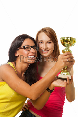 Фотография на тему Два счастливых победителя с призом