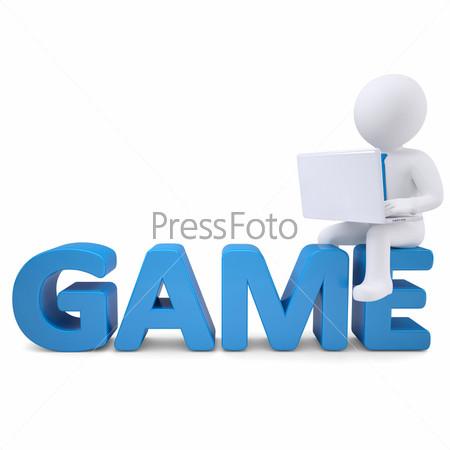 Фотография на тему 3D белый человек с ноутбуком, сидящий на слове ИГРА