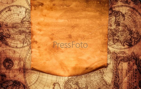 Старая бумага на фоне древней карты